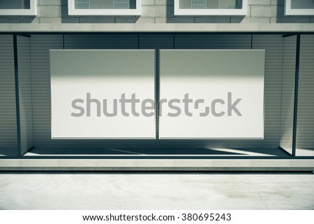 Blank white billboards instead showcase on the first floor of building, mock up 3D Render - stock photo