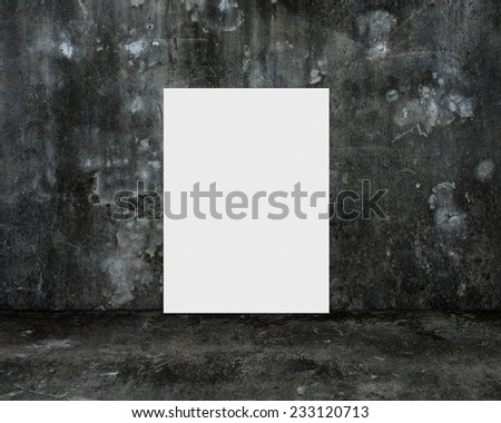 blank white board with dark old mottled concrete room background - stock photo