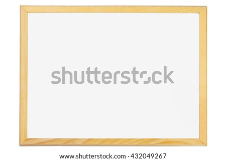 Blank White Board with Wooden Frame  - stock photo