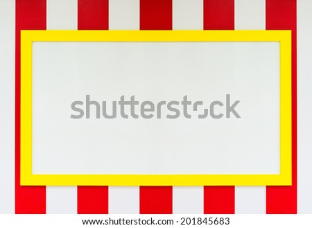 blank white board with yellow frame - stock photo