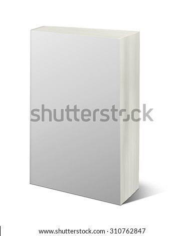 Blank white book isolated on white with clipping path - stock photo