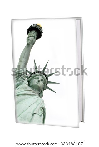 Blank white book with hard cover (used designer's own picture of the Statue of Liberty) - stock photo