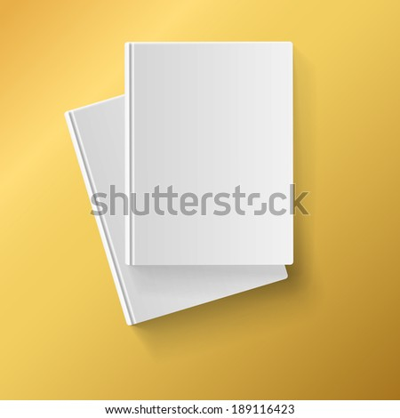 Blank white  books on yellow background for corporate identity, advertising and promotions - stock photo