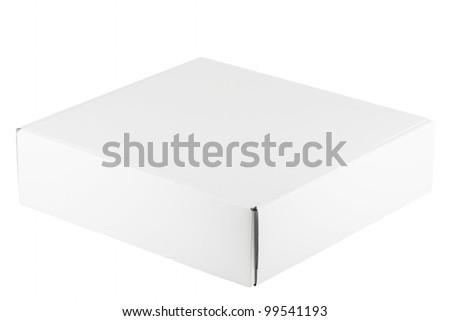 Blank white box on a white background - stock photo