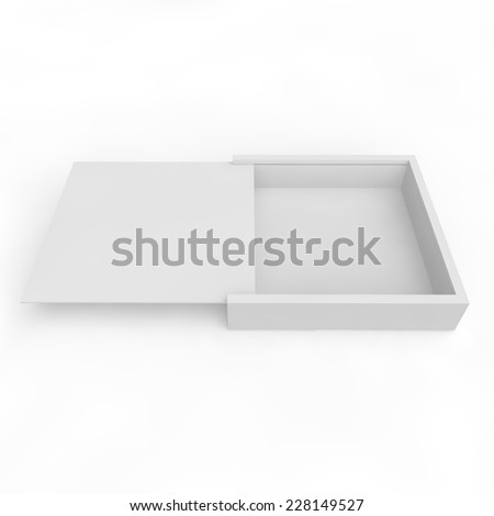 Blank white box with sliding lid for gifts, products and other goods - stock photo