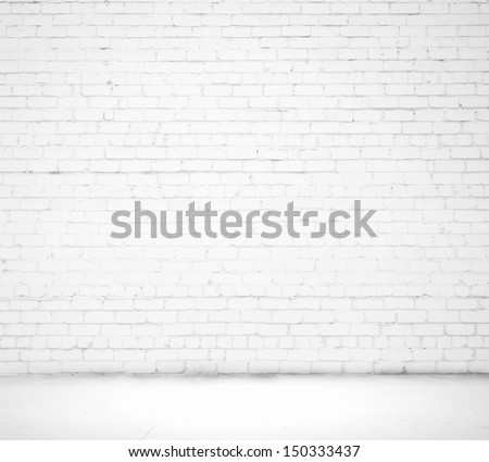 Blank white brick wall. Place for text - stock photo