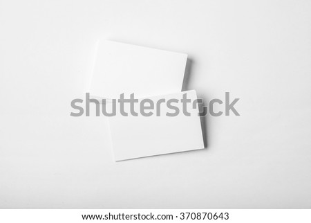 Blank white business card presentation for promotion of Corporate identity. Horizontal - stock photo