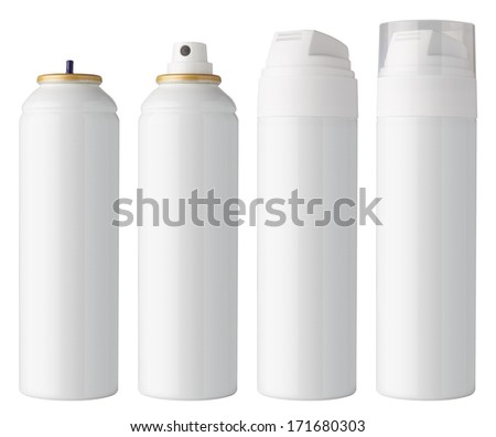 Blank white can, with different caps for spray and foam, isolated on white background - stock photo