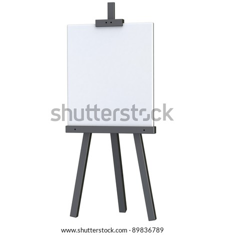 Blank white canvas on black easel 3d - stock photo