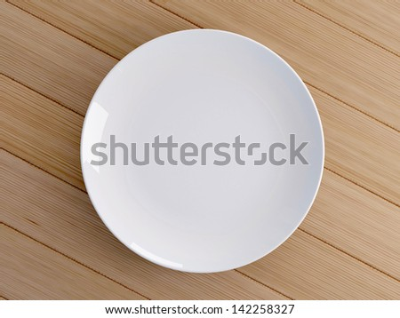 Blank white ceramic on wood background - stock photo