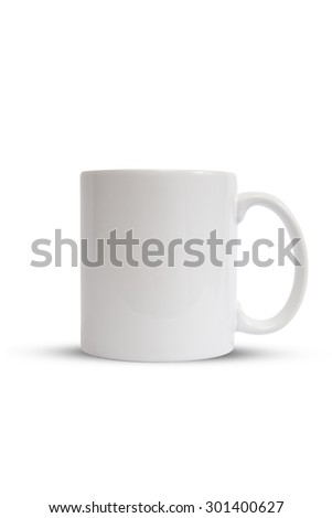 Blank White Classic Ceramic Coffee Mug Isolated on White (with Clipping Path) - stock photo