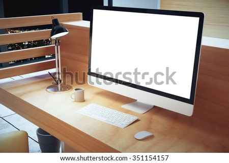 Blank white computer screen with lamp on wooden table at hight, mock up 3D Render - stock photo