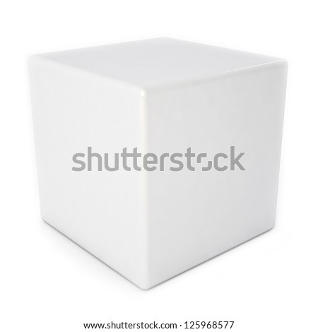 Blank white cube with reflection isolated over white - stock photo