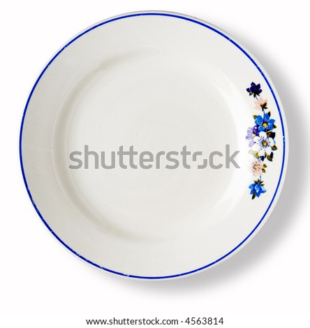blank white dish with blue ribbon and flower decoration over white background with shadow - stock photo