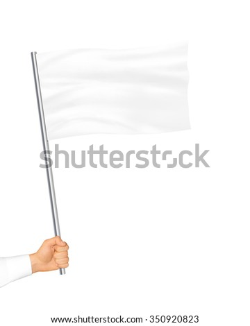 Blank white flag mock up isolated holding in hand. Large wavy flagpole mockup ready for business logo design presentation. Surrender symbol empty banner. Clear standart sign. - stock photo