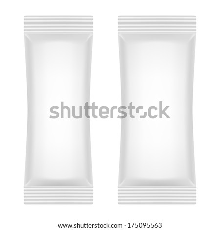 Blank White Foil Sachet For Sugar, Coffee, Salt, Pepper Or Sweets. Product Package Template. Raster Version - stock photo