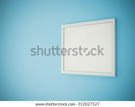 Blank white frame on light blue wall background perspective. - stock photo
