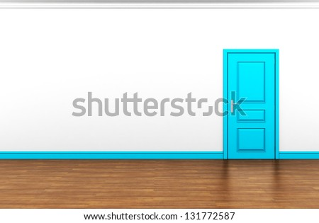 blank white interior with blue door - stock photo