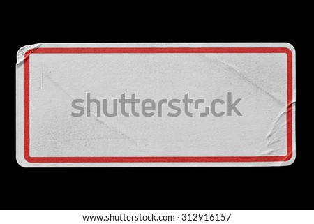 Blank White Label Adhesive with Red Border isolated on Black Background. Sticker or Paper Tag with Wrinkles and Scratches. Close Up. Top View with Copy Space for Text or Image - stock photo
