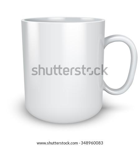 Blank white mug isolated on white background illustration. - stock photo