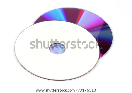 Blank white music compact disc or cd dvd vcd blueray - stock photo