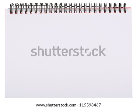 Blank White Page of Spiral Bound Notepad Isolated on White - stock photo