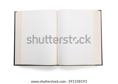 Blank white pages in an open hardcover book isolated on a white background. - stock photo