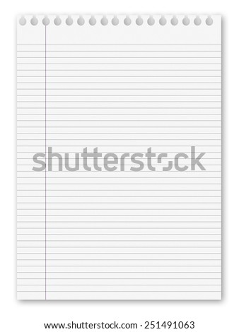 blank white paper background from lined page - stock photo