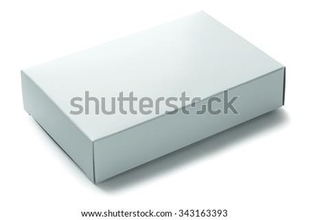 blank white paper box isolated on white background - stock photo