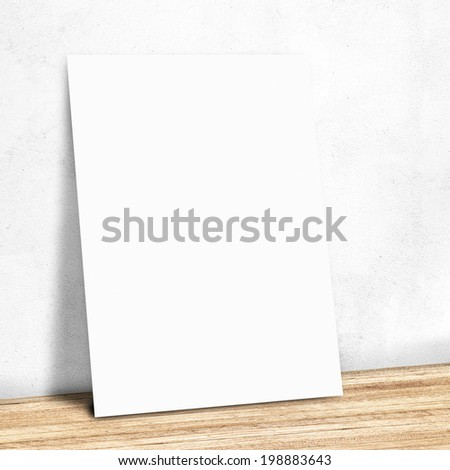 blank white paper on the white wall and the wooden floor,Mock up for your content - stock photo
