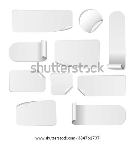 Blank white paper stickers isolated on white background. Round, square and rectangular sticker template. Sale and Clearance stickers and banners. Big Sale promotion. Blank white Sticker Templates - stock photo