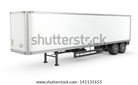 Blank white parked semi trailer, isolated on white background - stock photo