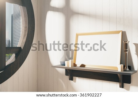 Blank white picture frame with candlestick on brown wooden shelf at sunrise, mock up 3D Render - stock photo