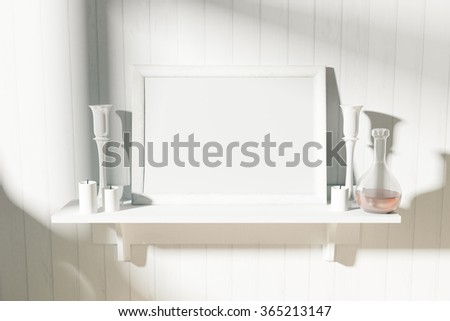 Blank white picture frame with candlesticks on white shelf at sunrise, mock up 3D Render - stock photo