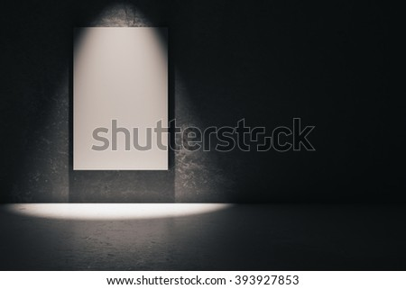 Blank white poster in dark concrete room. Mock up, 3D Render - stock photo