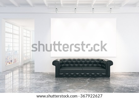 Blank white poster on white wall with black leather sofa on concrete floor, mock up 3D Render - stock photo