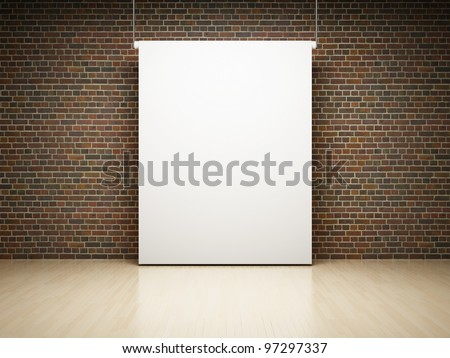 Blank white projection screen in studio on brick wall - stock photo