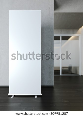 Blank white roll up banner near concrete wall. 3d rendering - stock photo