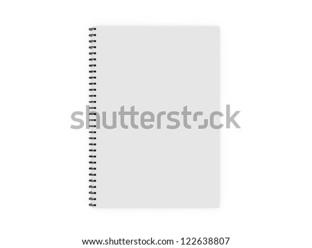 Blank white ruled notebook, ring binder, top view, isolated on white background. - stock photo