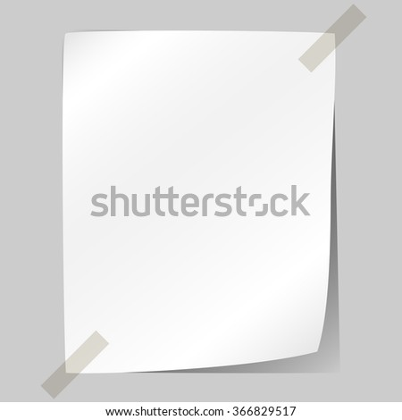 Blank white sheet of paper stuck to the wall. - stock photo