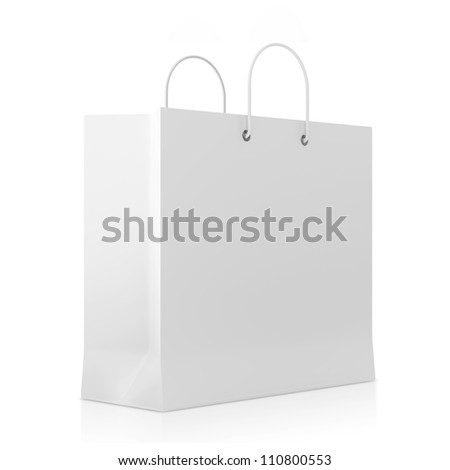 Blank White Shopping Bag isolated on white background - stock photo