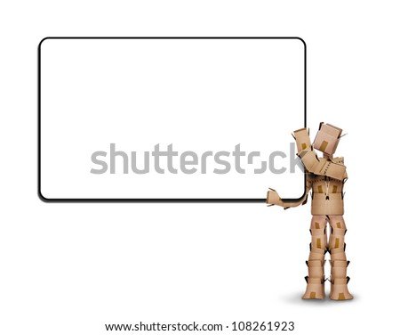 Blank white sign held by a box man on a white background - stock photo