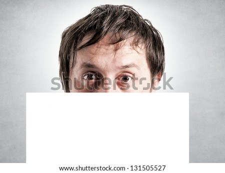 Blank white space over the male head. Selective focus on the male head - stock photo