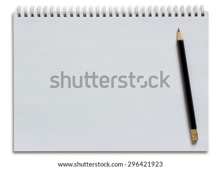 blank white spiral notebook and pencil isolated on white - stock photo