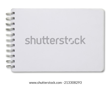 blank white spiral notebook isolated on white background  - stock photo