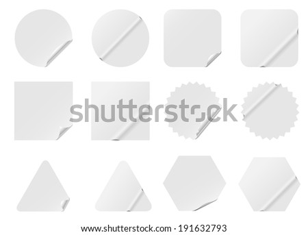 Blank white stickers isolated on white background. - stock photo