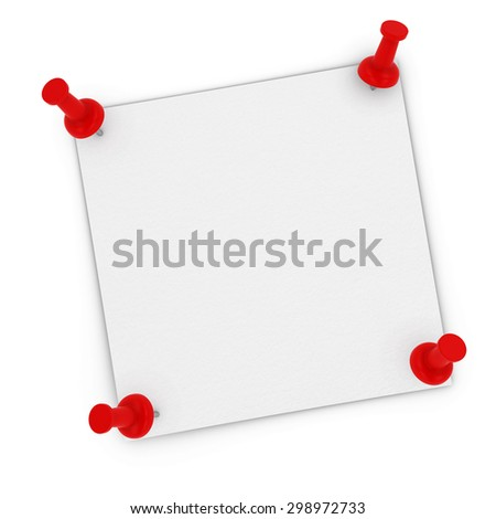 Blank White Sticky Note with Corners Pinned to white background by red pins - stock photo