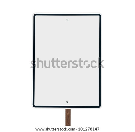 Blank white vertical road sign isolated. - stock photo