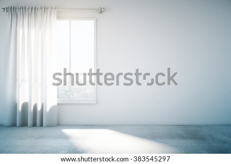 Blank white wall with window and concrete floor, mock up, 3d render - stock photo