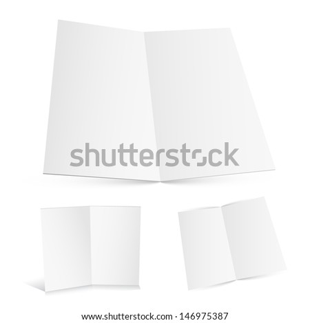 Blank white zigzag folded paper. Raster version. Vector version available in my portfolio. - stock photo